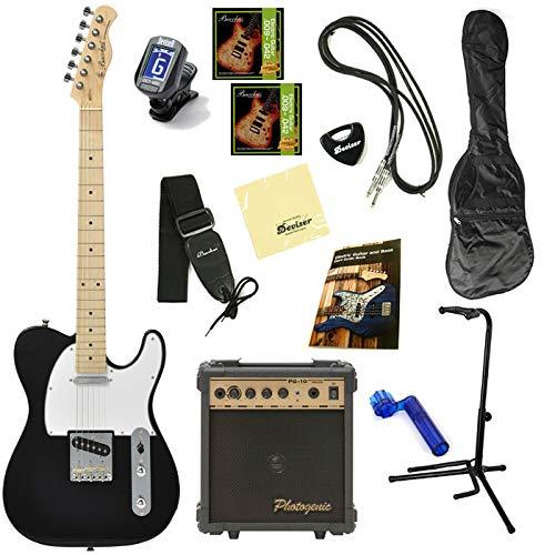 【初期調整済みですぐ弾ける!】 Bacchus バッカス BTE-1 オリジナル エレキギターセット テレキャスタータイプ (M/BLK)