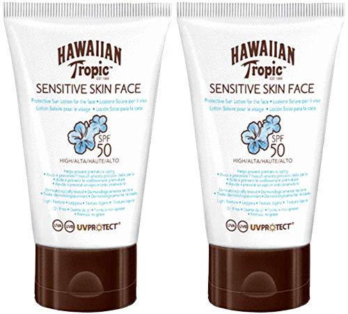 Hawaiian Tropic Sensitive Skin Face - Crema Solar para la Cara de Piel Sensible, SPF 50, 60ml, 2 unidades