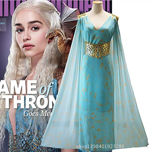 LJYNB 1: 1 Juego de tronos Daenerys Targaryen Disfraz Khaleesi Vestido azul con capa larga Vestido elegante de Madre de dragones L Azul
