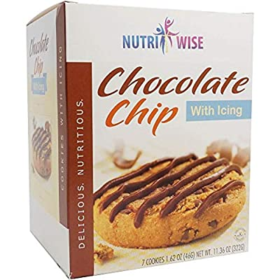 NutriWise - Chocolate Chip Protein Diet Cookies | 7/Box | Low Calorie, Low Carb, Low Fat, Low Sugar