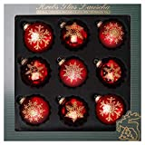 ORIGINAL LAUSCHAER Christbaumschmuck - 9er Set Kugeln, handdekoriert, Satin rot, Kugel Ø 8 cm, mit...