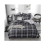 AMDXD Juego de 4 piezas de algodón con patrón de celosía, sábana y funda de almohada (1 funda de edredón de 200 x 230 cm, 1 sábana de 245 x 250 cm, 2 fundas de almohada de 48 x 74 cm).