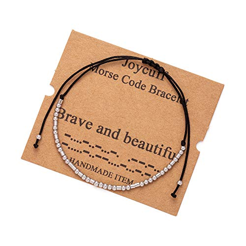 Brave and Beautiful Morse Code for Best Friend Women Bracelets Inspirational...