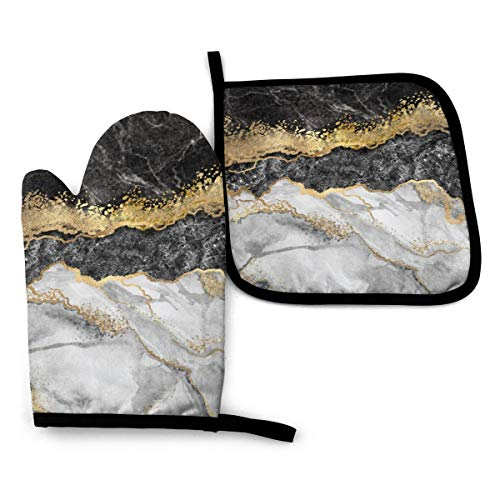 CSDGHRHX Black White Gold Foil Marble Oven Mitts and Pot Holders Kitchen Set Heat Resistant BBQ Baking Cooking Gloves