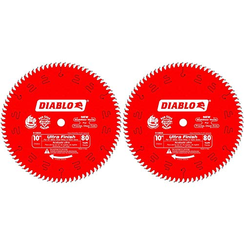 Freud D1080X Diablo 10-Inch 80-tooth ATB Finish Saw Blade with 5/8-Inch Arbor and PermaShield Coating (2 Pack)