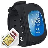 Gangang Tracker GPS pour enfants, Smartwatch anti-errance, appel SOS, Détecteur d'enfants imperméable, traçage en temps réel, montre Smart Kids compatible avec smartphones Noir