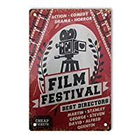 Film Featival Retro Tin Signs、ヴィンテージデコレーションアルミニウムメタルティンズサインfor Men Women、Wall Decor for Home House Bars Restaurants Cafes Pubs、12x8インチ メタルプレートブリキ 看板 2枚セットアンティークレトロ