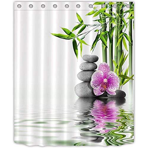 Noblik Indien Spa Zen Buddha Wasser Yoga Duschvorhang Polyester Wasserdicht Massage Stein Orchidee Bad Bad Vorh?Nge 1,8X1,8 cm