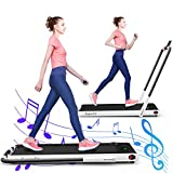 GYMAX Folding Treadmill, 2 in 1 Under Desk Electric Running Machine with Bluetooth & LED Screen, Portable Walking Machine for Home, Office, Gym (White)