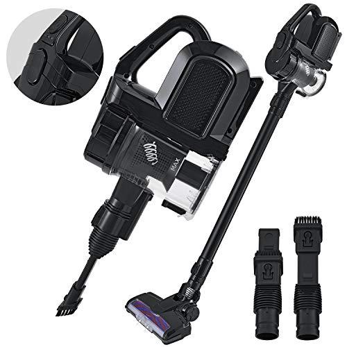 Juskys 2in1 Akku Staubsauger VAC100 Pro beutellos kabellos | bis 55 min Laufzeit | Wandhalterung + LED Licht | schwarz | Handstaubsauger Akkusauger