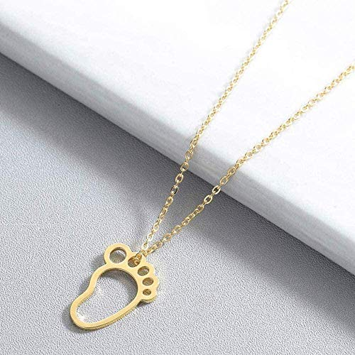 Yaoliangliang Collar Lindo bebé pie pies Collar mamá Accesorios de joyería Cadena de Oro Encantador Colgante Collar