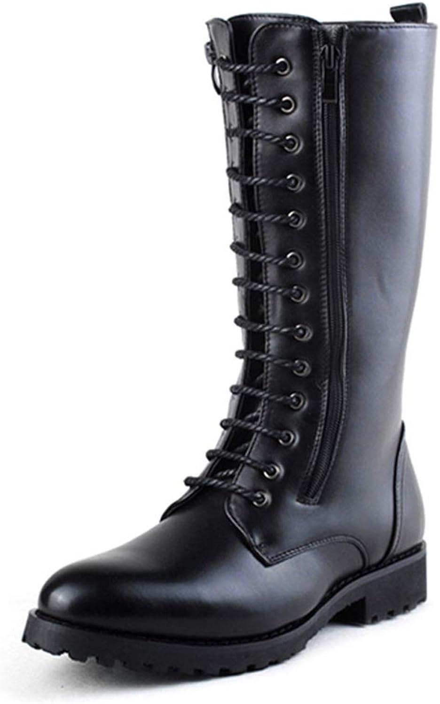 XHD-Chaussures Bottes de Moto pour Hommes - Nonchalant - Pratique - Triple Fermeture à glissière - Laçage au Genou - Botte (Couleur   Noir, Taille   38 EU)