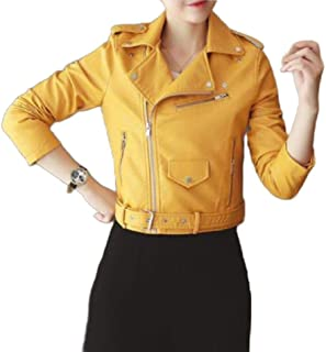 EnergyWDWomen Zip Casual Short Locomotive PU Leather Coat Jacket