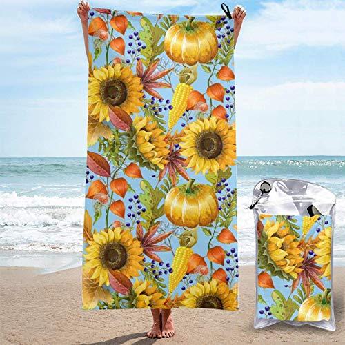 Bathroom Towels Shower Towels Toallas de playa ligeras, calabazas de girasoles de otoño Beach Towels 140 X 70