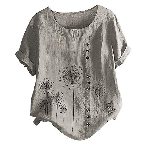 Affordable Camiseta Suelta De Verano para Mujer Blusa Informal De Manga Corta De Moda Túnica Estamp...