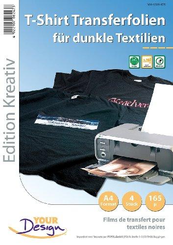Your Design Transferpapier: 4 T-Shirt Transferfolien für bunte Textilien A4 Inkjet (Bügeltransferfolie)