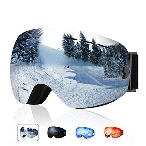 XOOYKI Ski Snowboard Goggles Winter Sports Eyewear Dual Lens Anti-Fog OTG UV Protection Replaceable Lens Elegant Packaging