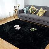 Alfombra Salón CHOSHOME Home Alfombra Interior Suave Alfombra de Pelo Largo para Salón o Dormitorio (Negro,120*180cm)