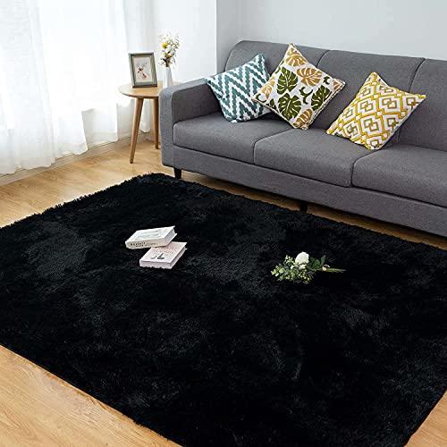 CHOSHOME Tapis Salon Moquette Poil Long tapi lit Grande Taille Tapis Poils Longs Moderne Tapis Convient pour Le Salon Tapis(Noir, 120*180cm)