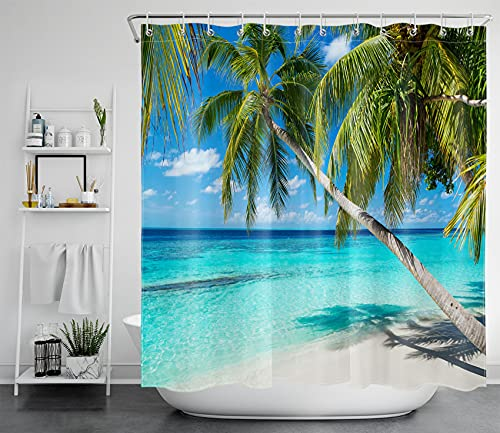 LB Türkisfarbener Ozean Duschvorhang Antischimmel Wasserdicht Badezimmer Vorhänge Grüne Palme am Strand 180x180cm Polyester Bad Vorhang mit Haken
