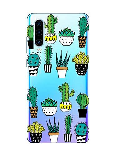 Oihxse Funda Compatible con Huawei P8 Lite 2017, Carcasa Transparente Silicona TPU Suave Protector de Golpes Ultra-Delgado Cristal Cover Anti-Choque Anti-Arañazos Bumper-Cactus
