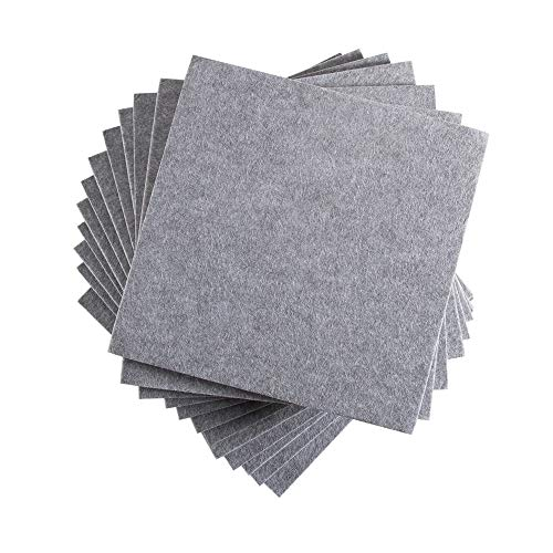 12 Pack Set Acoustic Absorption Panel, 12 X 12 X 0.4 Inches Grey Acoustic Soundproofing Insulation Panel Tiles, Acoustic Treatment Used in Home & Offices