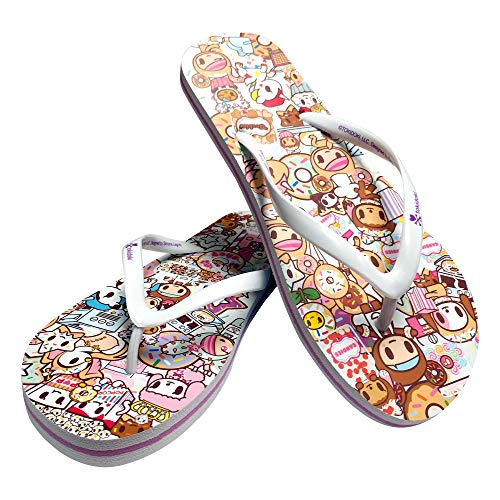 TokiDoki Sweetshop Flip-Flop's Sturdy Summer Sandal, White Straps and Soft Rubber Soles, 7-8