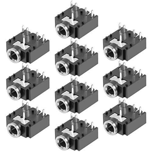 10Pcs 5Pin 3.5Mm Stereo Socket Headphones Jack Leiterplattenmontage-Steckverbinder 3F07 - Schwarz