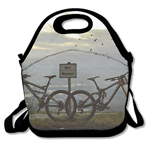 Ghf-LUNCHBAG twee zwarte mountainbikes lunchtas geïsoleerde lunchbox