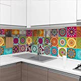 60 Stickers muraux Cuisine - Sticker Mural - Carreaux de Ciment adhésif Mural - Stickers Muraux azulejos - Sticker Carrelage adhesif Mural Salle de Bain 10 x 10 cm - 60 PCS Carreau de Ciment adhesif
