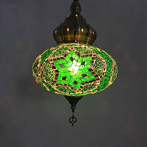 Fikujap Lámpara Colgante turca, Linterna de Mosaico multicolora Luz de Techo de 10 Pulgadas de Ancho de Ancho de Color marroquí con Bombillas LED Gratis para Sala de Estar Lámpara de Noche,H