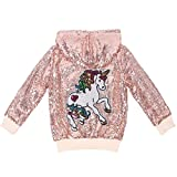 ANATA Girl Fall Sequin Jacket Kids Zipper Hoodie Jacket Coat Long Sleeve Casual Jacket Toddler Girls Fall Outwear Clothes Rose Gold Unicorn 11 Size 5T
