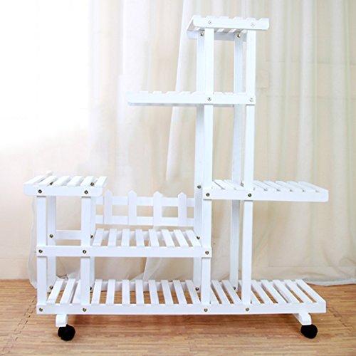 WSSF- Solide Bois Fleur Rack Plancher Multicouche Charnue Haute Faible Bonsaï Balcon Vert Plantes Présentoir Salon Intérieur et Extérieur Mobile Pot Pot De Fleur, 95 * 25 * 102 cm (Couleur : #2)