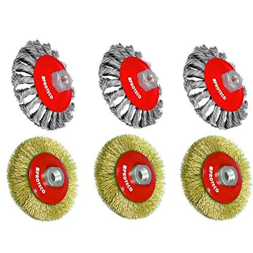 Proteco-Werkzeug® Set 6 tlg Stahldrahtbürsten für Winkelschleifer Kegelbürste gezopft gewellter Stahldraht Gewinde M14 x 2,0