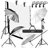 EMART 8.5x10ft Photography Backdrop Kit with 400W 5500K Daylight Umbrella Continuous Lighting Set, Black & White Backgrounds for Photo Studio Product, Photoshoot, Portrait Shoot