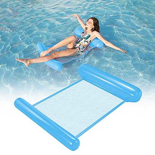 Esteopt Aufblasbares Schwimmbett, Aufblasbare Wasserhängematte, Wasser Hängematte 4-in-1 Ultrabequeme Luftmatratze Schwimmende Wasser Bett Matte (Blau)