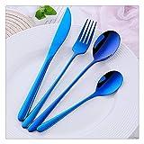 Peakfeng 4 PCS/Set Vajilla Conjunto de vajillas Cubiertos de Acero Inoxidable Mango Largo Cuchillo Cuchara Tenedor Sald Cuchara Estilo Coreano 8 Colores (Color : Blue, Size : 6 Sets(24pcs))