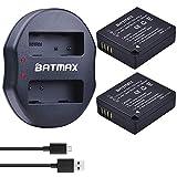 Batmax 2pcs DMW-BLE9, DMW-BLG10 Battery + USB Dual Charger for Panasonic BLG10E BLG10GK Panasonic Lumix DC-ZS70, DMC-GX80, DMC-GX85, DMC-ZS60, DMC-ZS100, DMC-GF6, DMC-GX7K, DMC-LX100K Digital Camera
