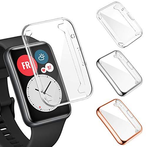 FITA [3 Stücke] Hülle Kompatibel mit Huawei Watch Fit/Elegant Edition Schutzhülle, Vollständige Abdeckung Weiche TPU Schutzfolie Cover Case Kompatibel mit Huawei Watch Fit Smartwatch