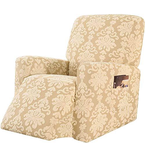 Jonist Funda elástica para sillón reclinable, Funda para sillón Mecedora Jacquard con Bolsillo Lateral Inferior elástico Espesar para Cuero y Tela Sofá Funda para sofá-A