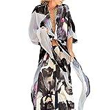 Cardigan Donna in Chiffon - Donna Chiffon Floral Kimono Estivo,Cardigan Kimono Mare Copricostume Casual Cover Up per Mare Party Vacanze (Nero C, L)