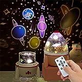LINGSFIRE Lampara Nocturna Infantil, 2 en 1 Lámpara Proyector Estrellas con mando a distancia, Luz de humor de 7 colores y 4 brillos con 5 películas de escena para niños Regalos para bebés y niñas