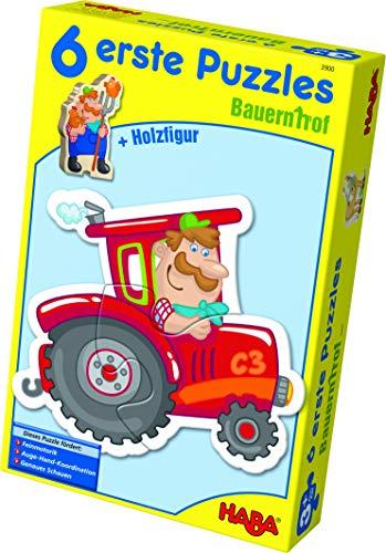 Haba 3900-6 eerste puzzels boerderij, puzzel met 6 schattige boerderijmotieven voor kinderen vanaf 2 jaar, met houten figuur om vrij te spelen