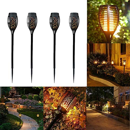 4 Pack Flickering Flame Solar Torch Solar Powered 12 LED Flame Light Tiki...