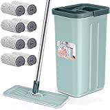 Floor Mop and Bucket Set, Aifacay Flat Mop Bucket System Flexible Mop Head 8 Reusable Microfiber Pads Home Hardwood Floor Mop Bucket with Wringer Extended Stainless Steel Handle Mop for Wood, Vinyl