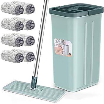 Floor Mop and Bucket Set Aifacay Flat Mop Bucket System Flexible Mop Head 8 Reusable Microfiber Pads Home Hardwood Floor Mop Bucket with Wringer Extended Stainless Steel Handle Mop for Wood Vinyl