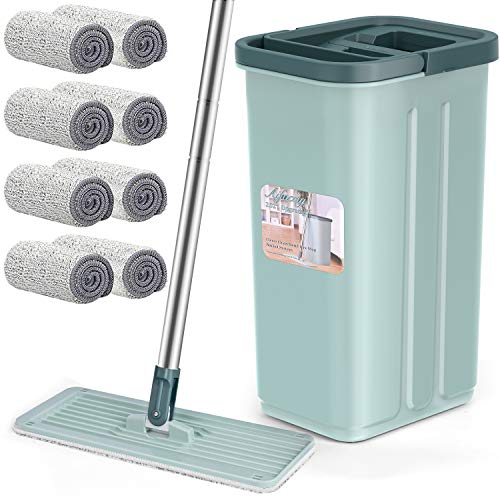 Floor Mop with Bucket, Aifacay Flat Squeeze Mop Bucket System Flexible Head/8 Reusable Pads Home Hardwood Floor Cleaner Dust Mops Extended Stainless Steel Handle Mops for Home Cleaning