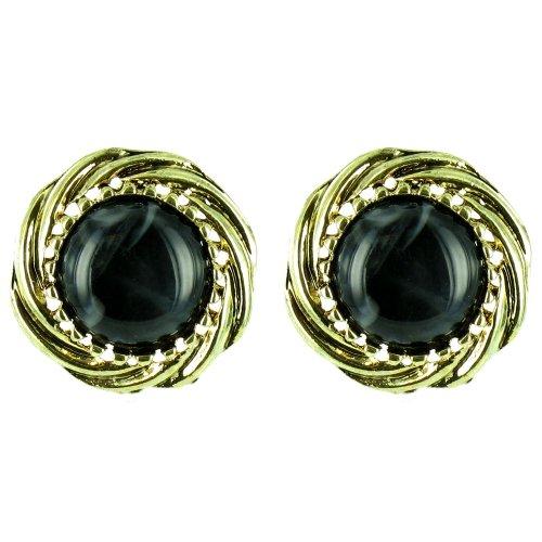 Schwarz auf Gold vergoldet rund Marmor Effekt Ohrringe