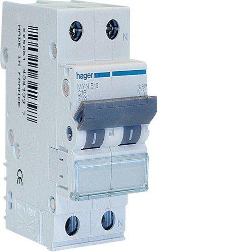 Hager MYN516 - Interruttore Automatico 1P+N 4.5kA C-16A 2M