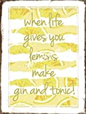 Jotora Letrero de hierro con texto en inglés 'When Life Give You Lemons', arte de pared, nostálgico, creativo, regalo, pintura decorativa, personalizada, minimalista, cartel, tendencia retro